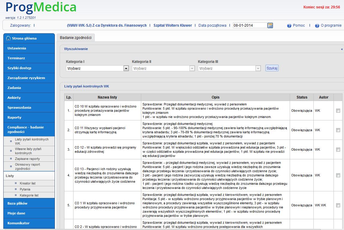 Compliance -  listy pytań kontrolnych