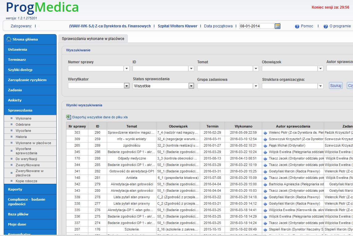 Monitoring realizacji zadań i projektów